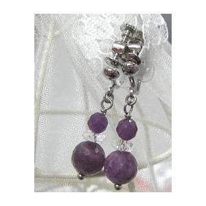 ルビー&水晶 ブレスレット・イヤリングセットのイヤリング