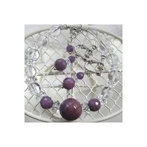 ルビー&水晶 ブレスレット・イヤリングセットの全体画像