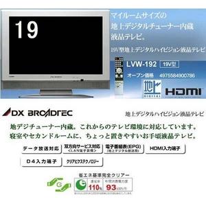 DXブロードテック 19型デジタルハイビジョン液晶テレビ LVW-192 シルバー HDMI入力端子・D4入力端子搭載