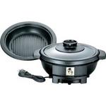 ツインバード 電気グリル鍋 EP-D163B 【焼肉プレート付き】3〜4人用にちょうど良い2.2L 土鍋スタイルでおいしさ演出!味わい亭