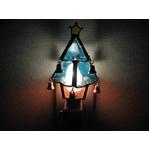 ステンドガラス製 クリスマスツリーフットランプ(ブルー)