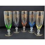 ボヘミアンガラスのフルートグラス 5ヶセット