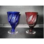 ブルー&レッドの冷酒グラスペア