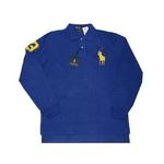 POLO Ralph Lauren(ポロ ラルフローレン) ビッグポニーポロシャツ(長袖) カスタムフィット ブルー×イエロー Lサイズ