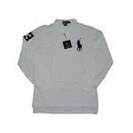 POLO Ralph Lauren(ポロ ラルフローレン) ビッグポニーポロシャツ(長袖) クラシックフィット ホワイト×ネイビー Lサイズ