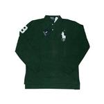 POLO Ralph Lauren(ポロ ラルフローレン) ビッグポニーポロシャツ(長袖) クラシックフィット グリーン×ホワイト Sサイズ