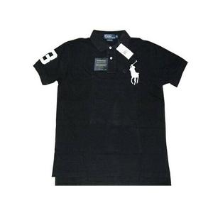 POLO Ralph Lauren(ポロ ラルフローレン) ビッグポニーポロシャツ(半袖) カスタムフィット ブラック×ホワイト Mサイズ