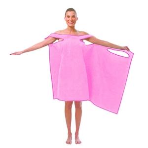 TVで紹介され大人気!着れるバスタオル「バスタローブ」(スウィートピンク)