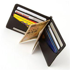 カードも小銭も入るシープレザー マネークリップウォレット