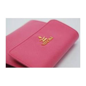 02プラダ/PRADA サフィアーノレザー 二つ折り財布(小銭入れ有)/ピンク 1MO170 BEGONIA SAFFIANO METAL