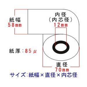 カシオ レジスター 110erとセットの上質レジロール紙 58mm×70φ×12mm サイズ