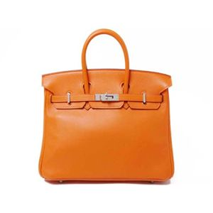 【新品同様】HERMES(エルメス) バッグ バーキン25 ヴォースイフト オレンジ シルバー金具 M刻印