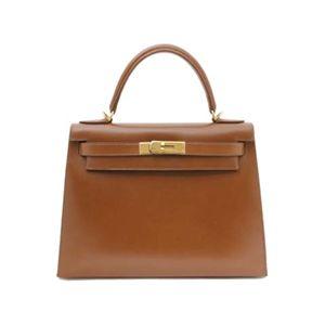 【新品同様】HERMES(エルメス) バッグ ケリー28 外 ボックスカーフ ブラウン ゴールド金具