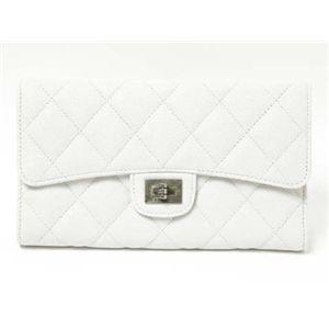 【新品】CHANEL(シャネル)2.55 マトラッセ三つ折長財布 キャビアスキン ホワイト/白 A35298