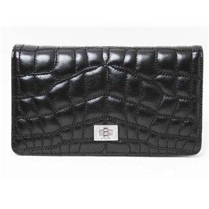 【新品】CHANEL(シャネル)二つ折り長財布 黒/ブラック ボルドー A36422