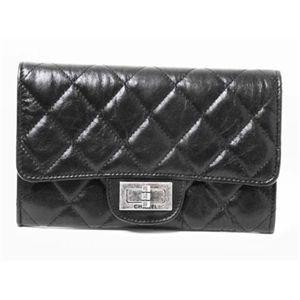 【新品】CHANEL(シャネル)2.55シリーズ マトラッセ ミディアム財布 ヴィンテージカーフ 黒 A35306