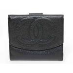 【現品限り】シャネル Wホック財布 キャビア 黒 A01427【中古B】