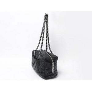 【現品限り】CHANEL(シャネル) コットンクラブ カンボンライン ボーリングバッグ 黒 ブラック 【中古B】