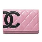 【現品限り】CHANEL(シャネル) カンボンライン 2つ折財布 ピンク/ブラック A26722 【中古B】