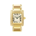 【現品限り】Cartier(カルティエ) タンクフランセーズSM ベゼル&ブレスダイヤ 純正 YG WE1001RC 【中古SA】