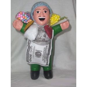 【ペルー産】伝説のエケッコー人形19cm グリーン(ミドルサイズ)