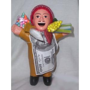 【ペルー産】伝説のエケコ人形19cm オレンジ(ミドルサイズ)