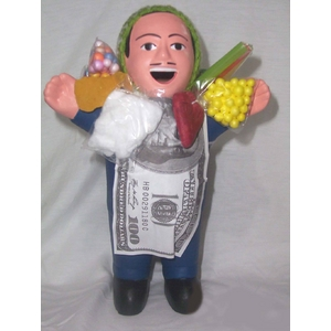 【ペルー産】伝説のエケッコー人形 19cm(ミドルサイズ) ダークブルー