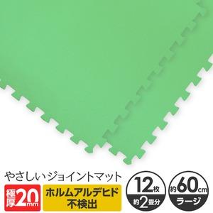 極厚ジョイントマット 2cm 大判 【やさしいジョイントマット 極厚 12枚入 本体 ラージサイズ(60cm×60cm) ミント(ライトグリーン) 】 床暖房対応 赤ちゃんマット