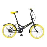 20インチ折畳自転車カラータイヤモデル ブラック×イエロー