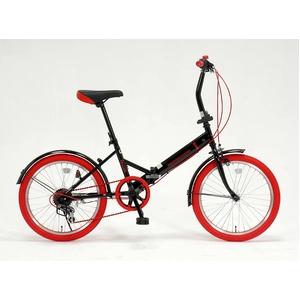 20インチ 折り畳み自転車カラータイヤモデル 外装6段変速付 ブラック×レッド GFD-206TRD