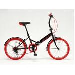 20インチ折畳自転車カラータイヤモデル 外装6段変速付 ブラック×レッド GFD-206TRD