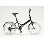 20インチ折畳自転車カラータイヤモデル 外装6段変速付 ブラック×ホワイト GFD-206TWH