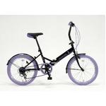 20インチ折畳自転車カラータイヤモデル 外装6段変速付 ブラック×パープル GFD-206TPP