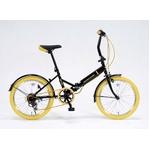 20インチ折畳自転車カラータイヤモデル 外装6段変速付 ブラック×イエロー GFD-206TYE