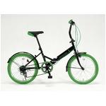 20インチ折畳自転車カラータイヤモデル 外装6段変速付 ブラック×グリーン
