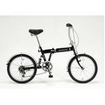20インチ折畳自転車 外装6段・サスペンション付 ブラック GFD-206SBK