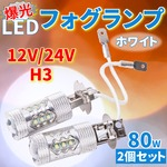 12V/24V H3 爆光LEDフォグランプ 80W 2個セット ホワイトの詳細ページへ