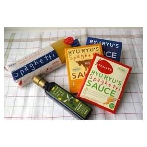 【お試し価格】神戸リュリュのパスタソース&スパ&オリーブオイル (スパゲティ・トマト・ミート・サーモン・オリーブオイル) お試し5点セット