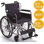 【消費税非課税】自走介助式 車椅子 ABA-12 座幅40cm ブラウンチエック