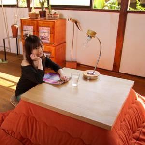 ウォームフリースこたつ掛布団/ヌード【Nude】 正方形 コーラルピンク