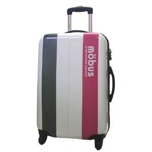 mobus(モーブス) ジッパーハードキャリー 4輪 ホワイト/ピンク 71992 スーツケースTSAロック付き