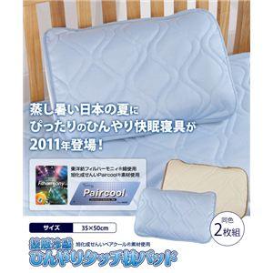 接触冷感ひんやりタッチ クール枕パッド 2枚組 ブルー