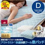日本製 接触冷感ナイスクール素材 アウトラスト(R) 快適快眠クール敷パッド(抗菌・防臭わた使用) ダブルサイズ