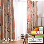 窓を飾るカーテン(デザインとサイズが選べる8000パターン)インファラ FOREST(フォレスト) 遮光2級 遮熱 保温 形態安定 (AL) 幅200cm×丈220cm(1枚) オレンジ