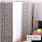 窓を飾るカーテン(デザインとサイズが選べる8000パターン)モダン LEAF(リーフ) 遮光2級 (AL) 幅100cm×丈90cm(2枚組) ブラック