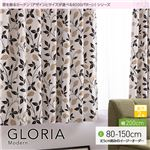 窓を飾るカーテン(デザインとサイズが選べる8000パターン)モダン GLORIA(グロリア) 遮光2級 (AL) 幅200cm×丈125cm(1枚) ブラウン