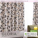 窓を飾るカーテン(デザインとサイズが選べる8000パターン)モダン GLORIA(グロリア) 遮光2級 (AL) 幅200cm×丈220cm(1枚) ブラウン