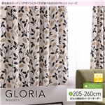 窓を飾るカーテン(デザインとサイズが選べる8000パターン)モダン GLORIA(グロリア) 遮光2級 (AL) 幅200cm×丈215cm(1枚) ブラック