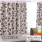 窓を飾るカーテン(デザインとサイズが選べる8000パターン)モダン GLORIA(グロリア) 遮光2級 形態安定 (AL) 幅100cm×丈210cm(2枚組) ブラウン
