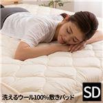 日本製 洗えるウール100%敷パッド(消臭 吸湿) セミダブル(120x200cm) ベージュの詳細ページへ
